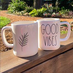 New Rae Dunn Double Sided GOOD VIBES Leaf Mug